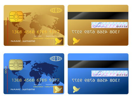 debit: The back and front view of credit card
