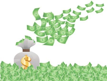 dinero volando: volando el dinero significa crecimiento financiero  Vectores