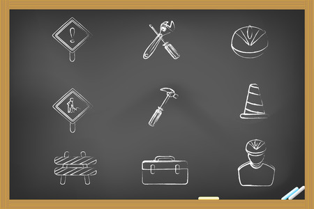 Construction icons drew on blackboard for design Vector