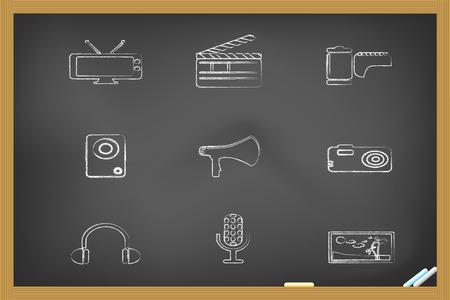 media icons drew on blackboard for design