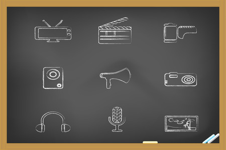 megaphone icon:  media icons drew on blackboard for design