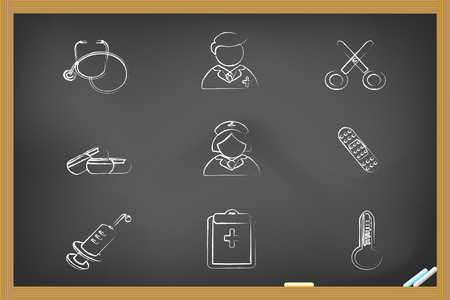 medical icons drew on blackboard for design Vector