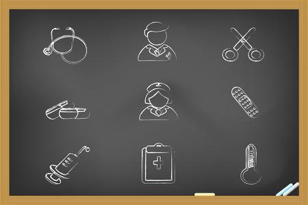 medical icons drew on blackboard for design Vector