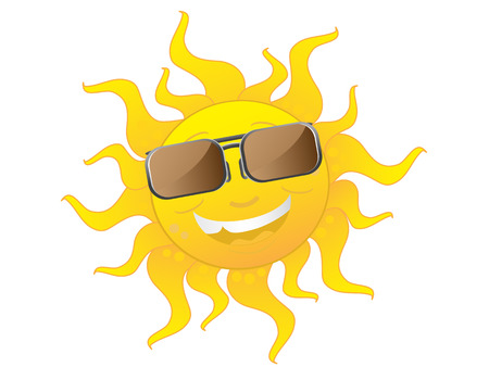 sun tan: the happy sun wearing sunglasses Illustration