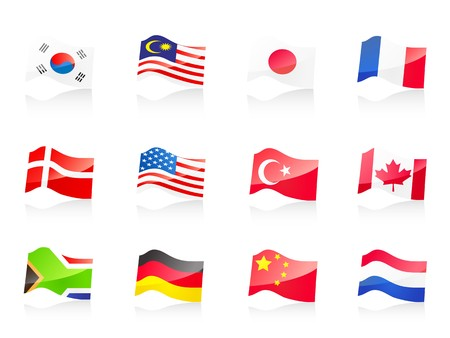 nation: 12 country flags icon for design Illustration