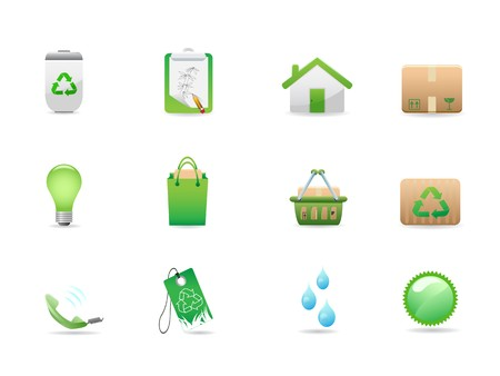 green eco icons for design Stock Vector - 7754448