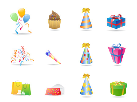 some birthday icons for design Vector