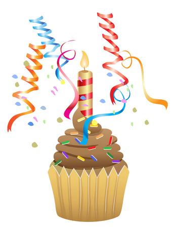 birthday chocolate cupcake for birthday Vector