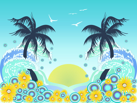 tthe background of tropical palm tree beach Stock Vector - 7919591