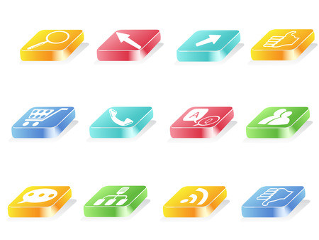 3d button icons for web design Stock Vector - 7919592