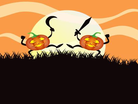 fighting pumkin for Halloween background Stock Vector - 7919598