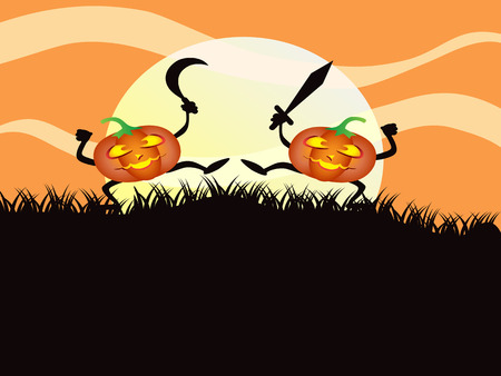 fighting pumkin for Halloween background Stock Vector - 7919598