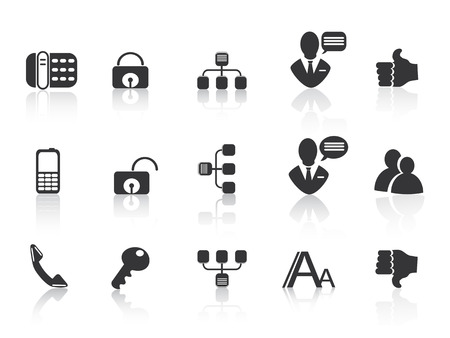 communicatie: zwarte mededeling iconen voor webdesign Stock Illustratie