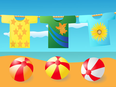 natural drying: the background of T-shirt at the beach