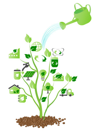 watering over some green icons growing on the tree Vector