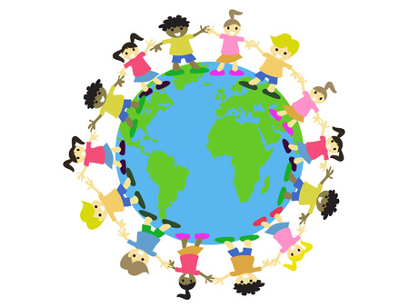 multicultural kids surrounding on the earth Vector