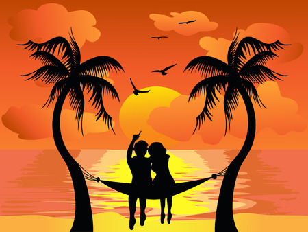 couple beach sunset: lover watching the beautiful sunset Illustration