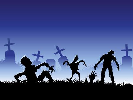 gruselig: der Hintergrund des creepy Zombie f�r Halloween-design  Illustration
