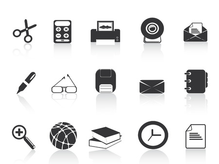 black simple office icons set for web design Stock Vector - 8001638