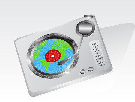 one earth record put on the record player Vector