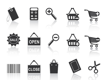 product cart: shopping e-commerce black icon set for design Illustration