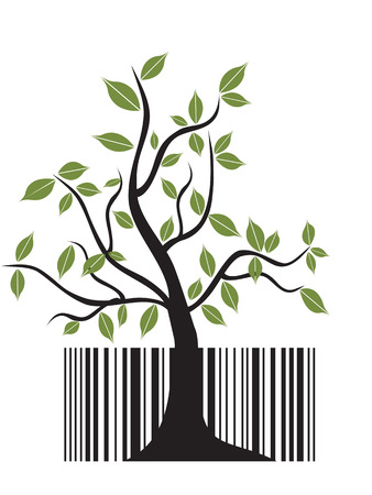 special concept of barcode tree for design Vector