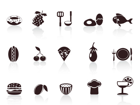 several black food icons for design Vector
