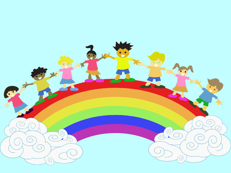 rainbow colours: happy kids hand in hand on the rainbow