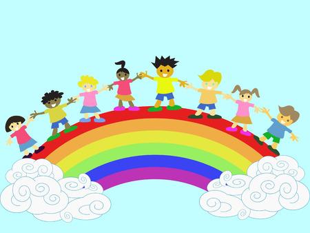 cartoon rainbow: ni�os felices de mano en mano en el arco iris  Vectores