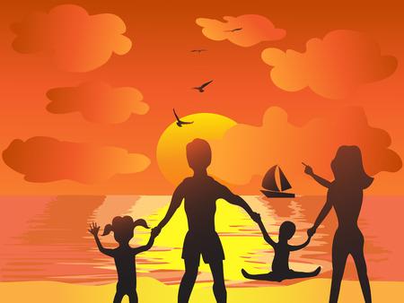 joyfu family in the sunset beach Vector