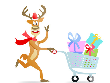 shopping cart: A hayyp running christmas reindeer