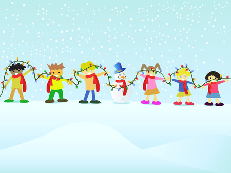 Group of kids join in the christmas Vector