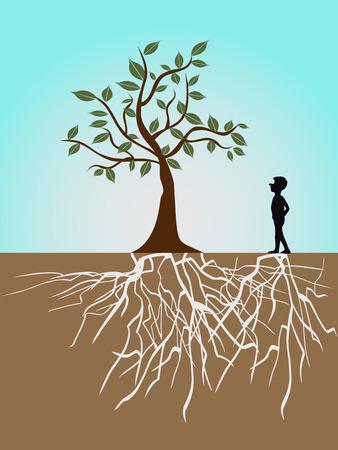 un arbre dont les racines et les gars  Illustration