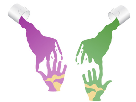 the concept of oil painting over hands Stock Vector - 8199280