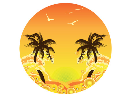 the round mark of Palm Tree Sunset Stock Vector - 8199290