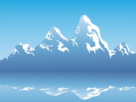 montagne de neige avec sa réflexion sur le lac