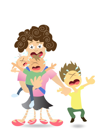 Stressed Mom very tired with 3 kids Stock Vector - 8199286