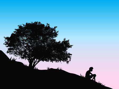front or back yard: a guy sitting near a tree on the hill to watch sunset