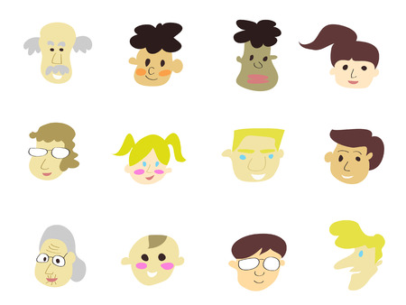 doodle cartoon people icons for design Stock Vector - 8265541