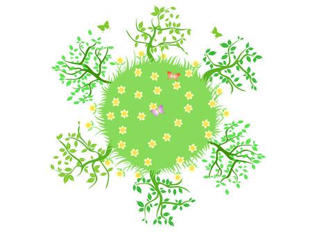 전 세계에서 자라는 푸른 나무들 일러스트