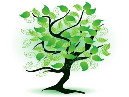 디자인을위한 예술적 녹색 나무