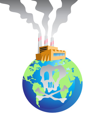 earth pollution: the polluted factory on the globe Illustration