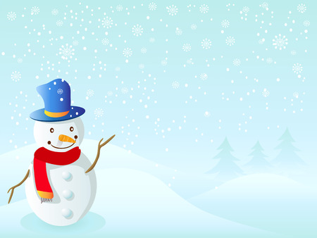 snowman stood on the snow for Xmas coming Vector