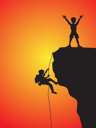 adrenalina: dos escaladores escalada el acantilado  Vectores