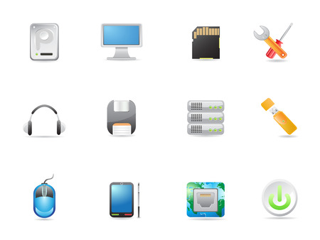 computer equipment icons set for design Stock Vector - 8265550