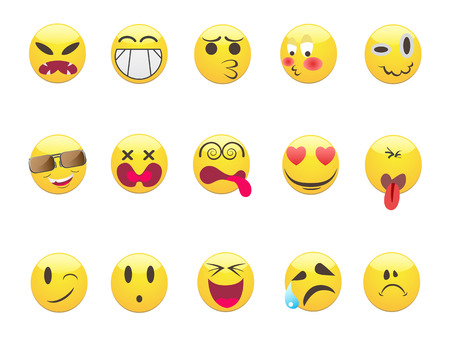 several Emoticons set for design Vector