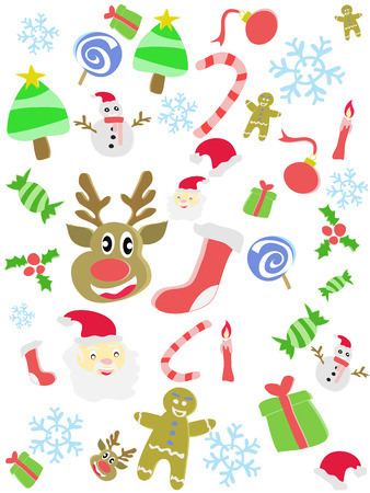 cartoon doodle seamless background for Christmas Vector