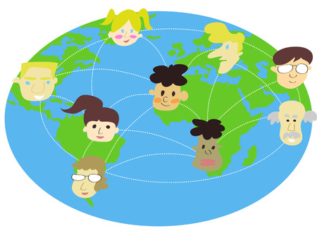 various  people connecting around the world Vector