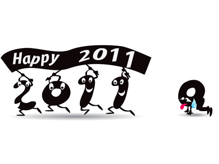 good bye: 2010 gone ,happy new Year 2011  Illustration