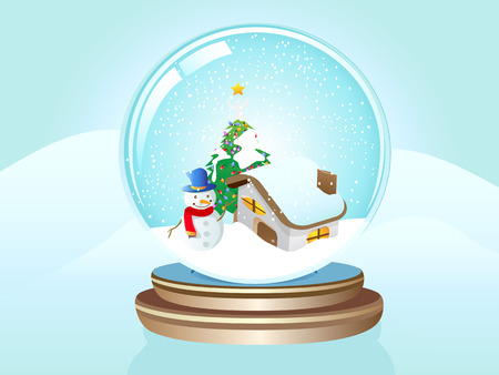 a snow globe on the snow land Vector